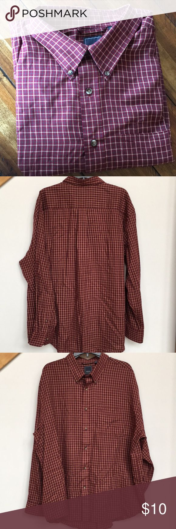 Men's Arrow shirt Arrow maroon and tan plaid casual button down shirt. Last picture more reflective of color and pattern. Arrow Shirts Casual Button Down Shirts