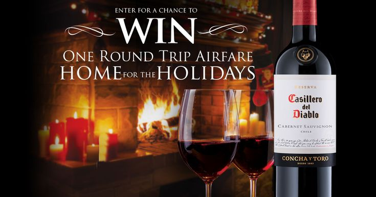 Raise a glass of Casillero del Diablo & enter for a chance to win airfare home for the holidays!