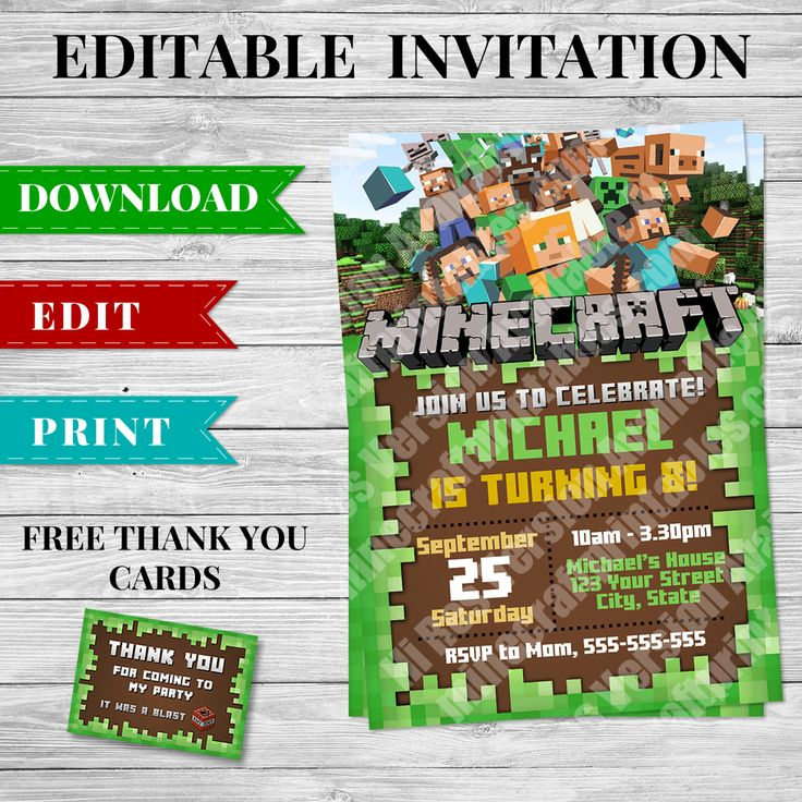 Printable Minecraft Invitation ready for you to download and add your party details! This Minecraft Invitation is an editable PDF ready to be personalized!