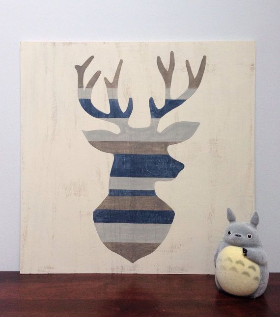 Large Hand Painted Deer Silhouette, Woodland Nursery Art, Rustic Nursery Decor, Wood Wall Art, Deer Head Art, Baby Boy Nursery, Buck Head