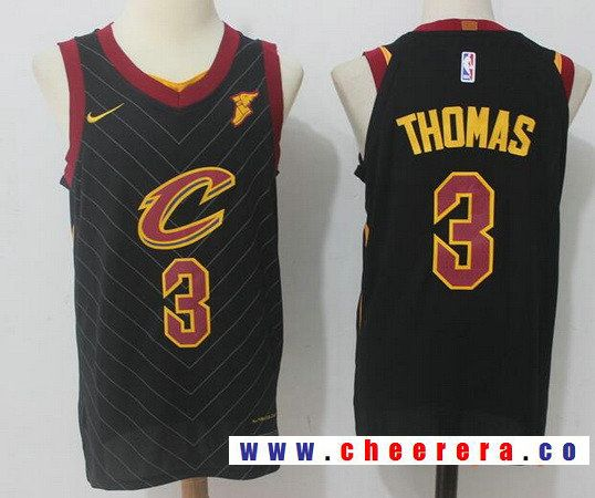 51a227591 Men s Cleveland Cavaliers  3 Isaiah Thomas Black 2017-2018 Nike Swingman  Goodyear Stitched NBA