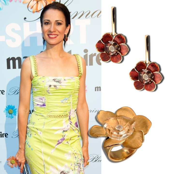 Spanish TV presenter Silvia Jato wearing Carrera y Carrera's Gardenias ring and earrings, at the 'T-Shirt Party', organized by Bluemarine and Marie Claire. www.carreraycarrera.com