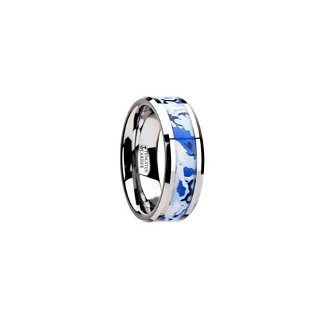 W2938-TCJC. GENERAL Tungsten Wedding Ring with Blue and White Camouflage Inlay - 8mm