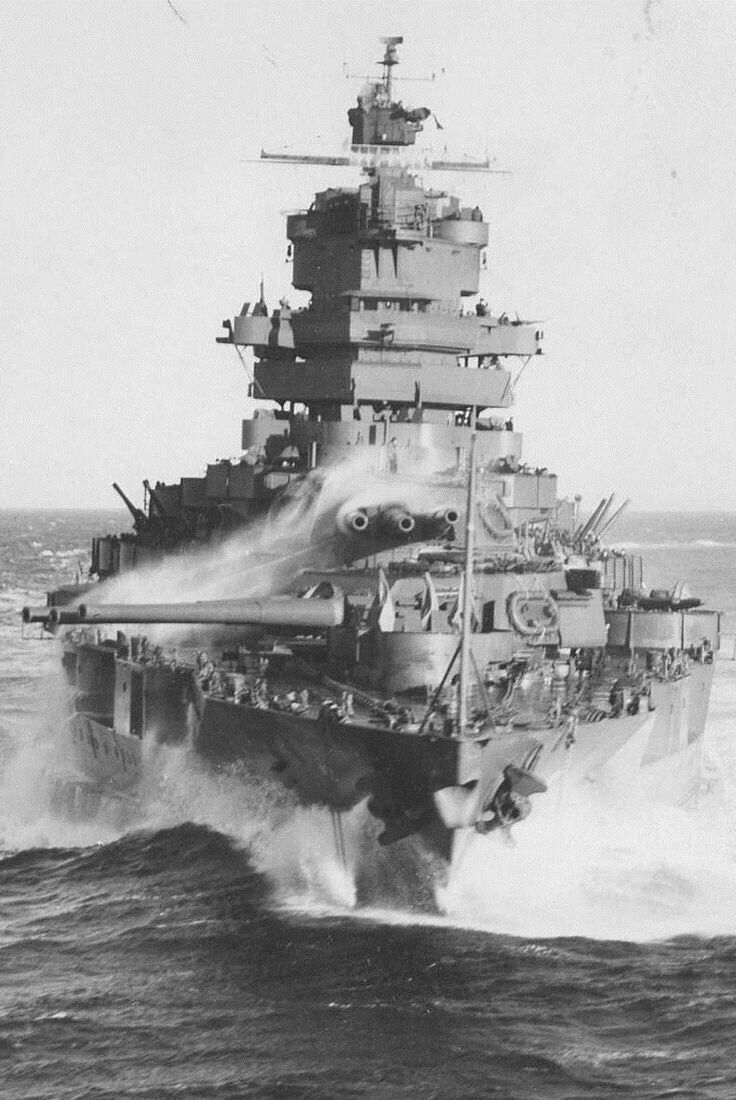 14 in Mississippi class battleship USS Idaho, 1943: she was fortunate in not being at Pearl Harbor on 7 December 1941, but as a result was not as extensively modernised as those ships requiring significant repair.  She served throughout the Pacific campaign, mainly in shore bombardment roles.