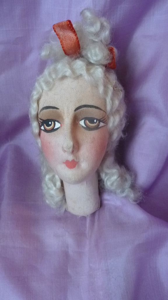 Elegant French boudoir doll's head blond curly hair ribbon 1920 from frenchfadedgrandeur on Ruby Lane