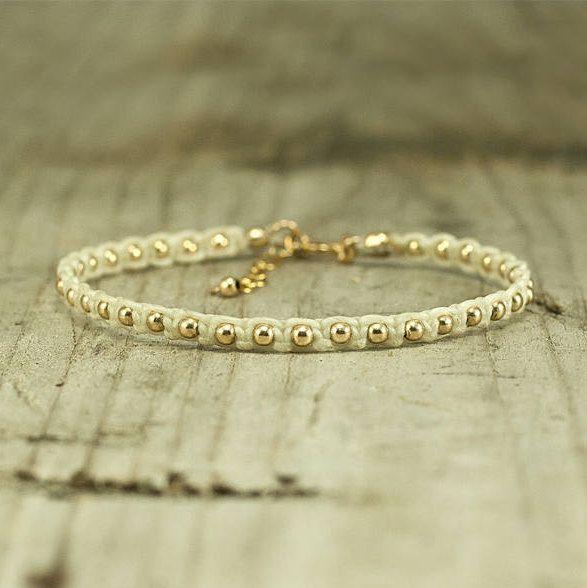 Gold Beaded Bracelet,white bracelet, handmade string bracelet,stack bracelets,stack bracelet,jewelry for her,arm candy,boho style,macrame by FreebirdBracelets on Etsy
