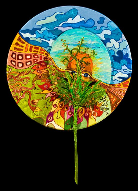 Spring Time.  Mixed media  1) Fiber art. Patchwork of indian silk shantung fabric mounted on hula hoop.  2) Acrylic on canvas.  3) Plywood and stucco sculpture colored with acrylic.  SIZE: diameter 31.52'', depth 2.36''
