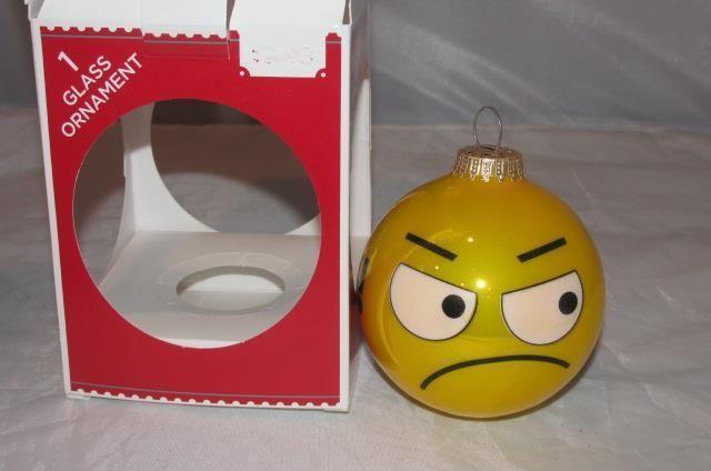 Bah Humbug  EMOJI GLASS BALL Angry  FACE EMOTICON NEW CHRISTMAS ORNAMENT #GloriaDuchin