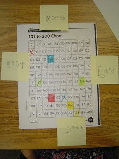 "Mrs. T's First Grade Class: ""We are learning about cardinal directions, so we used a 101-200 chart and post-its to help practice. The students put an x on a number I called out and then I would tell the students to go North 3 boxes and East 2 boxes. The students would have to color in the number they landed on."""