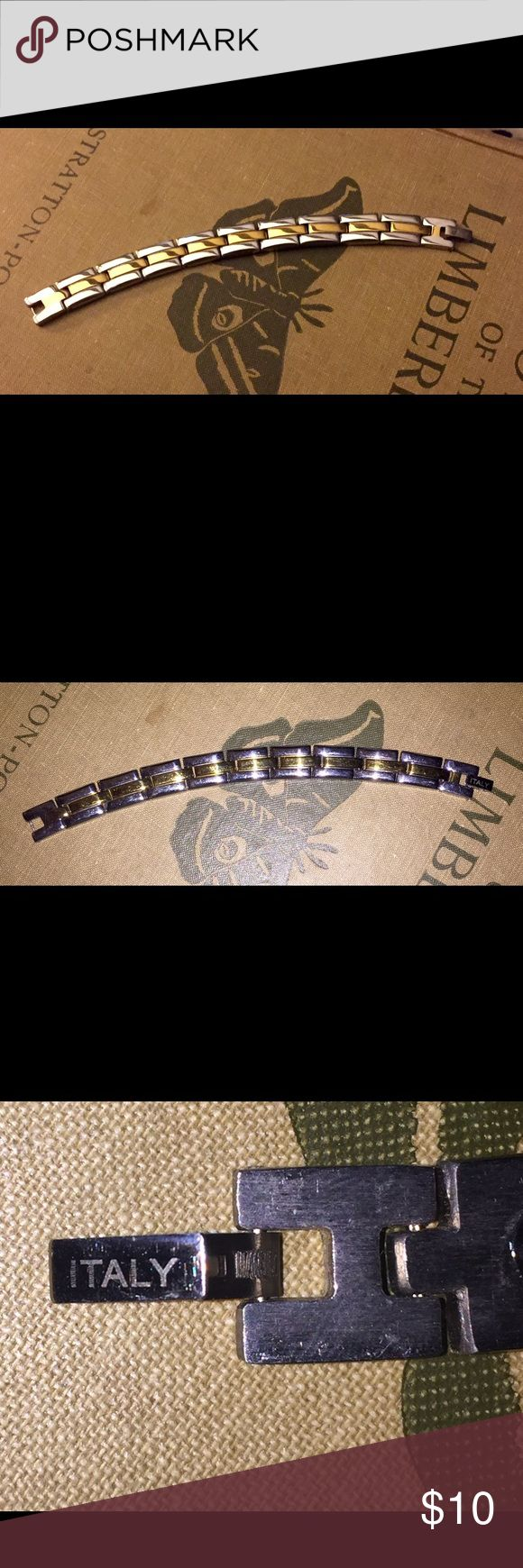 Titanium ITALY Bracelet Titanium bracelet marked titanium Italy on the clasp. Great condition.  6.5 in long Jewelry Bracelets