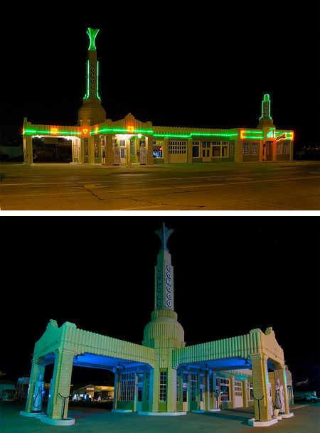 """Restored by the city of Shamrock, the magnificent art-deco """"Tower"""" Conoco Station in Shamrock, Texas looks exactly as it did during its heyday, complete with the U Drop Inn Café signage at the right side of the photo. Sadly, the old station no longer sells gas or food; it's now the Chamber of Commerce building for the city of Shamrock"""