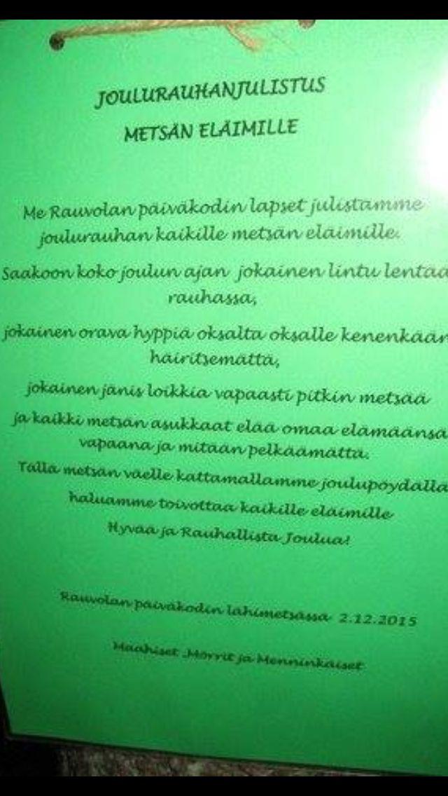 Joulurauhan julistus eläimille/ Johanna Upps Työ päiväkoti