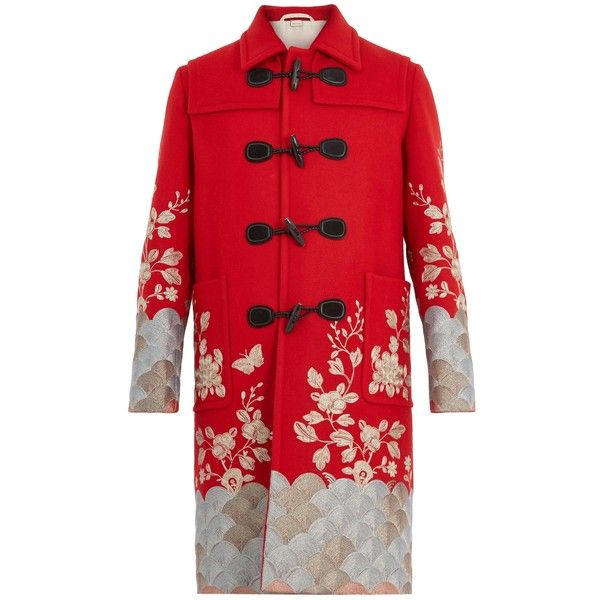 Gucci Floral-embroidered wool overcoat ($7,500) ❤ liked on Polyvore featuring outerwear, coats, red, red coat, red toggle coat, gucci, toggle coats and wool overcoat