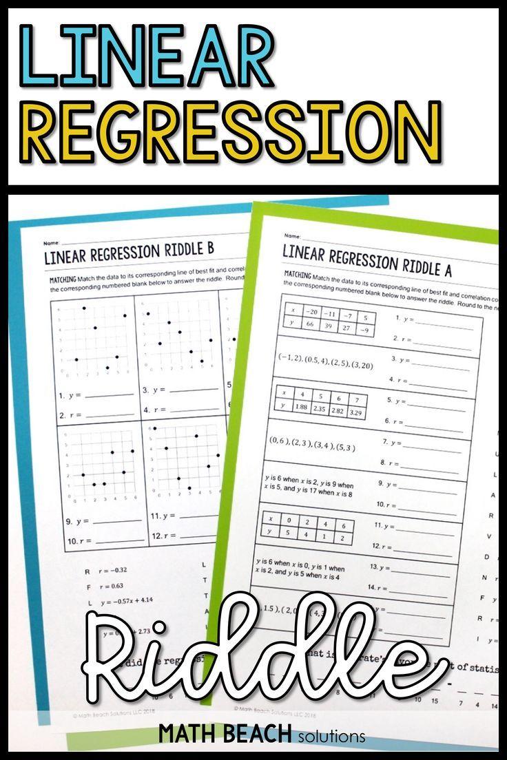 Linear Regression Riddle Activity In 2020 Linear Regression Algebra Worksheets Teaching Algebra