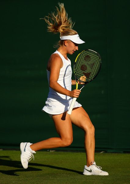 Daria Gavrilova Photos - Daria Gavrilova of Australia reacts in her Ladies Singles first round match against Irina-Camelia Begu of Romania.during day one of the Wimbledon Lawn Tennis Championships at the All England Lawn Tennis and Croquet Club on June 29, 2015 in London, England. - Day One: The Championships - Wimbledon 2015