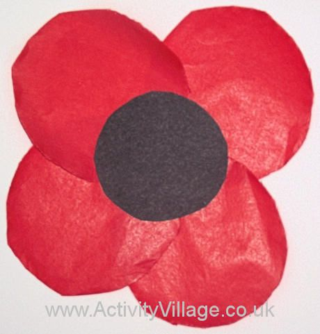 Tissue paper poppy for windows - Remembrance Day