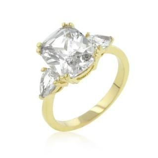 https://ariani-shop.com/radiant-cut-triplet-stone-gold-colored-engagement-ring-size-7 Radiant Cut Triplet Stone Gold Colored Engagement Ring, Size 7