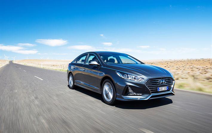 Download wallpapers 4k, Hyundai Sonata, road, 2018 cars, new Sonata, motion blur, korean cars, Hyundai