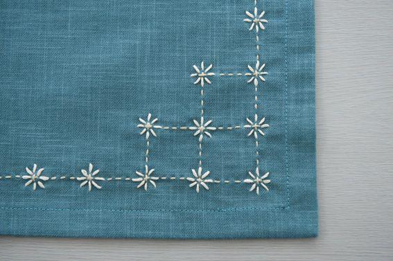 "traditional sashiko stitch ""kome zashi"" or rice stitches - 刺し子の伝統柄「米刺し」を、刺繍糸で手軽に。/刺し子風の布小物(「はんど&はあと」2013年3月号)"