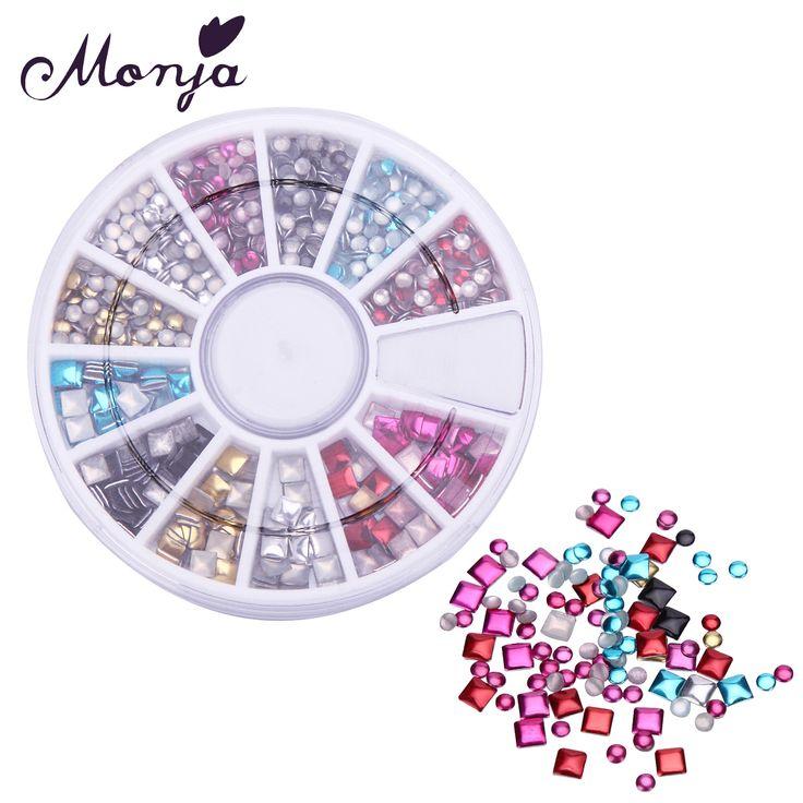 12 Size/Wheel Round Square Nail Art Metal Rivet Set UV Gel Polish Tips Phone 3D DIY Decoration Accessories Colorful Jewelry Kits