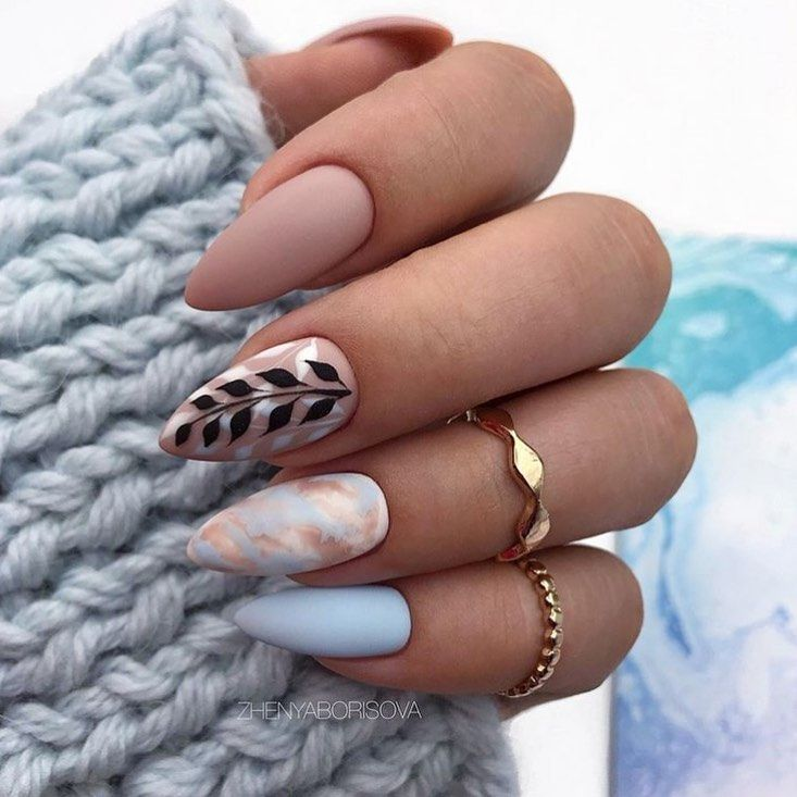 Trendy Nails Matte Grey Ideas For Fall 2019 Spring Acrylic Nails Almond Nails Designs Classy Almond Nails