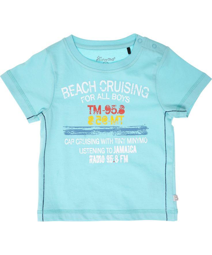 Minymo fel turquoise zomer t-shirt met 'beach' print. minymo.nl.emilea.be