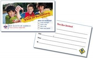 Cub Scout invite-a-friend cards, you easily could create a custom version with your pack's url & info on the front (through a business card printing service).