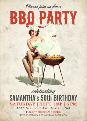 Vintage pin-up girl #bbq_invitations. Great for birthdays or any bbq occassion.