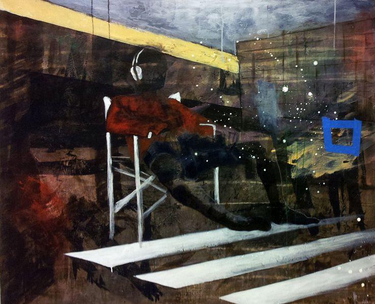 HEADPHONES TALIA BY ANNE-BRITT KRISTIANSEN  #fineart #art #painting #kunst #maleri #bilde  https://annebrittkristiansen.com/paintings/2013/