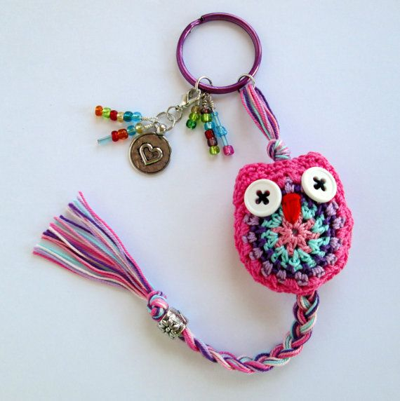 I <3 Owls! Adorable Crochet Owl Keychain in Pink, Purple and Aqua with Beaded Accents and Heart Charm!
