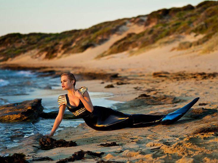 Jillian Ann in Ritual Breathe Harness with latex mermaid suit.