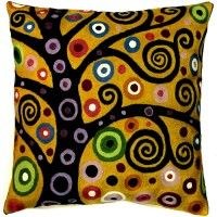 Klimt Tree of Life Pillow Cover, bright #topanienpdx #decorateincolor #klimt #pillow #swirls #artsy