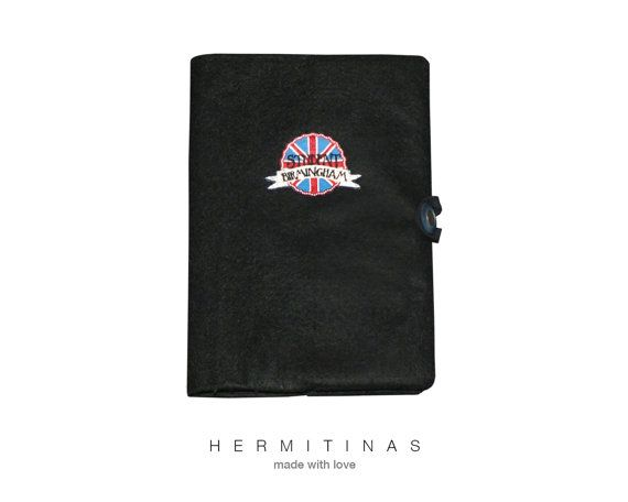 Black fabric book cover. Book cover with union Jack by Hermitinas