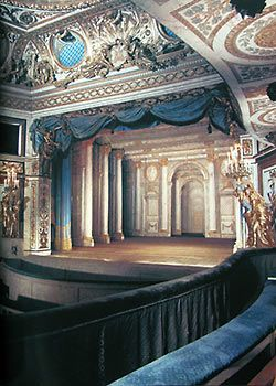 Theater in Petit Trianon, once the setting for Marie Antoinette's theatricals. The Petit Trianon is a small château located on the grounds of the Palace of Versailles in Versailles, France. BE THERE SOON!!!
