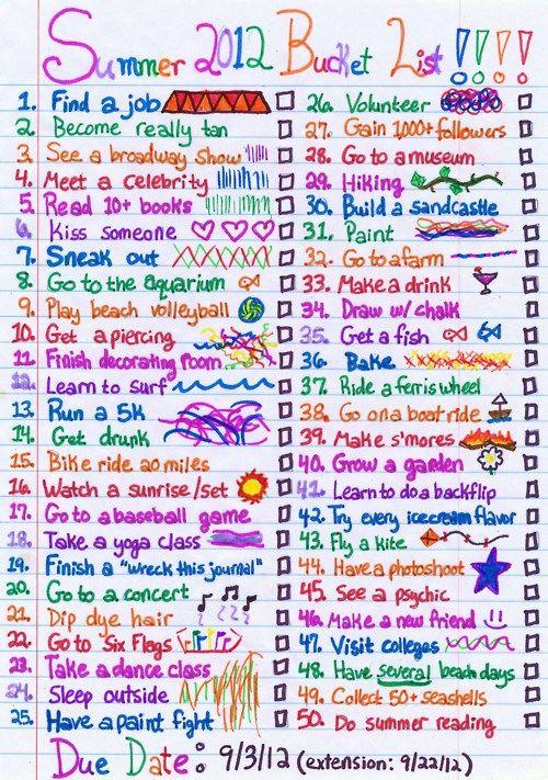 Summer bucket list that I like