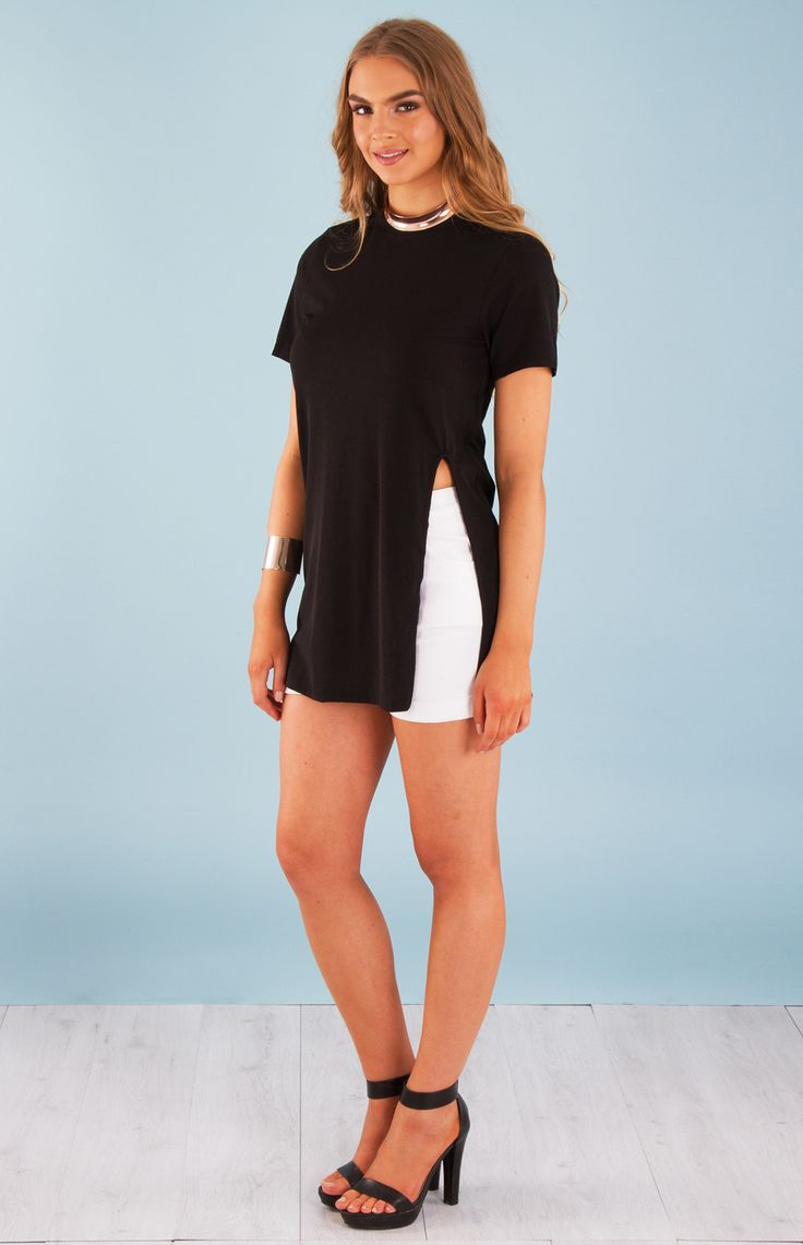 Long T-Shirt with Side Split (LEVT18) - Amber Glow   - 5