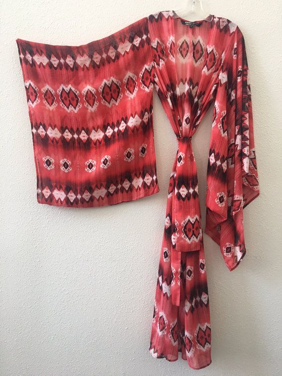 Kimono-Red Tribal Tyedye Sheer Chiffon