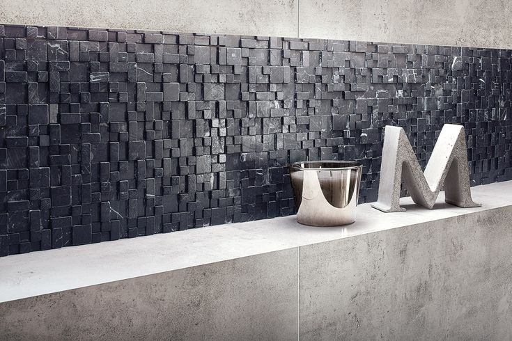 """SPA in scandi chic - don't you love it? It's Bergen collection of Ceramstic Design with Jungle mosaic and concrete """"M"""" letter (Morgan & Möller)! http://ceramstic.com/pl/bergen/"""