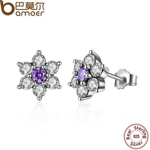 Beautiful Elegant Pair of Small Purple Sterling Silver Flower Stud Earrings with Cubic Zirconia Stone Centre 489Cjo