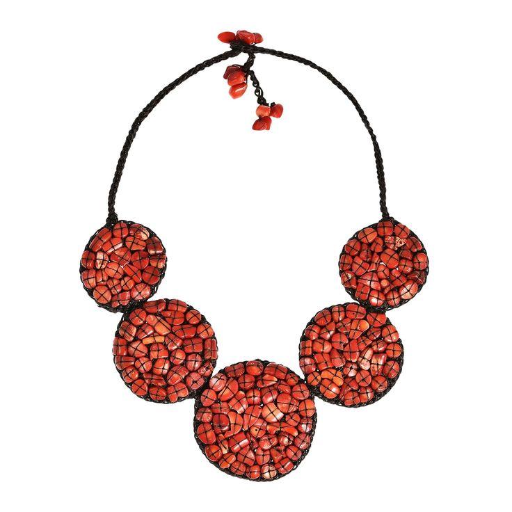 Aeravida Mosaic Bubble Bib Handmade Synthetic Coral Necklace