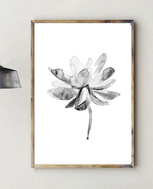 Lotus schilderij  Lotus illustratie  print  zwart wit door ZenInks