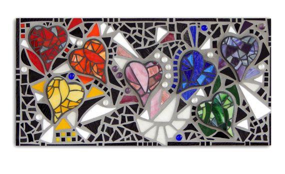 Mosaic Art Wall Panel Heartsong 24 x 12 by GreenBananaMosaicCo, $275.00