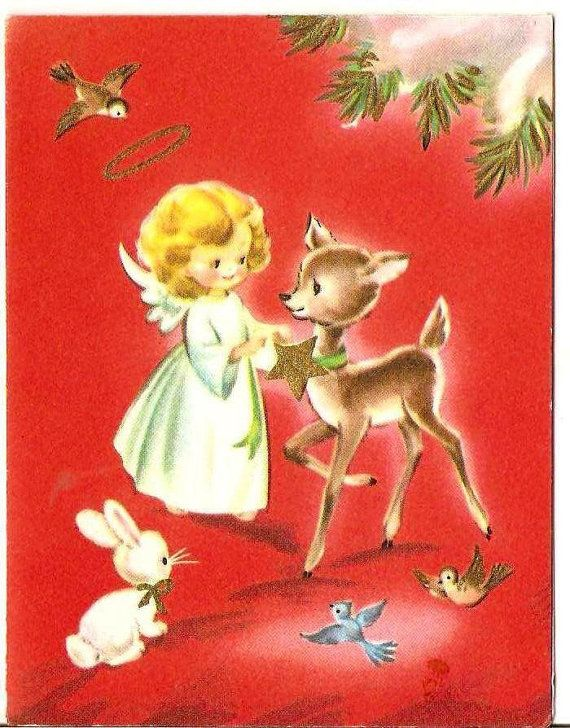 Vintage Christmas card. 1950s greeting card. Vintage by DarnSweet, £0.75