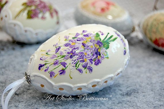Pysanka real egg painted by hand Lilies Of The Valley by Bettineum, $30.00