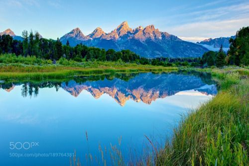Grand Tetons from Schwabacher Point by GEMCAM  landscape sunrise blue grass green mountainscape Reflection Grand Teton Grand Teton NP Schwabacher P