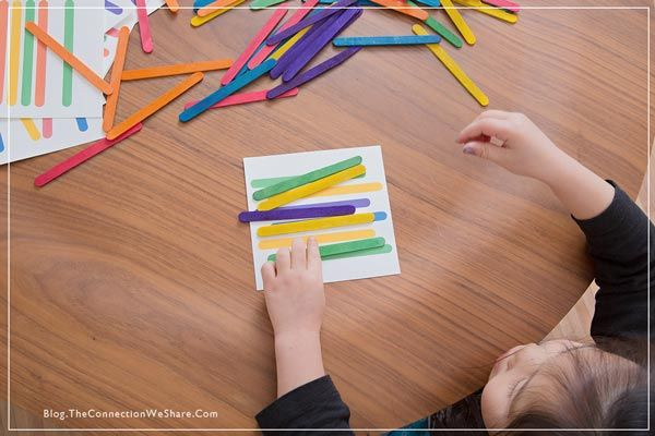 pattern matching game for kids popsicle sticks