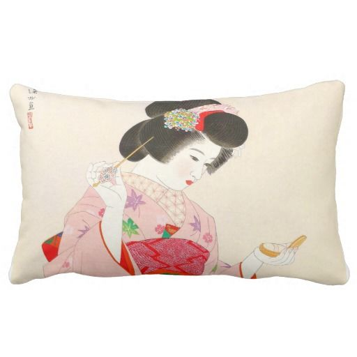 Ito Shinsui Make up vntage japanese geisha lady Throw Pillow