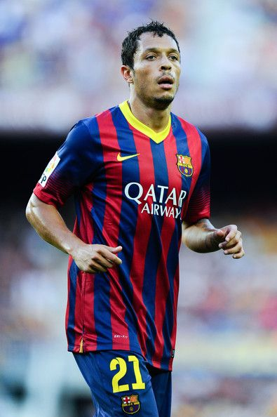 Adriano Correia, born 26 October 1984, simply known as Adriano, Brazilian defender/full back or midfielder, on both sides of the pitch, one of few players in professional football who are genuinely ambidextrous, FC Barcelona (2010-...).  FC Barcelona vs Levante UD, Camp Nou, 18 August 2013