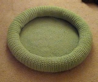 "I used this pattern as the base for my kitty bed. http://www.ravelry.com/patterns/library/free-rug-crochet-.... The finished product is about 24"" wide. This cat bed is crocheted using 2 stran..."