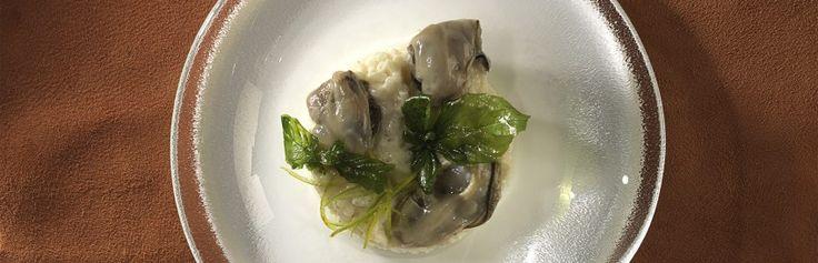Risotto alle ostriche. Risotto met Zeeuwse oesters, geraspte limoen en gefrituurde basilicum. Lees meer...